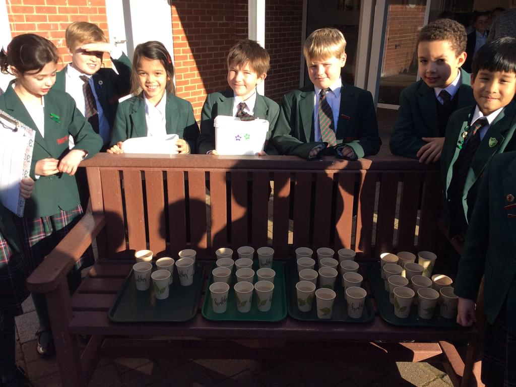 Bede's Prep Year 4 pupils at their charity lemonade sale, which raised £140 for WWF's Amazon Appeal