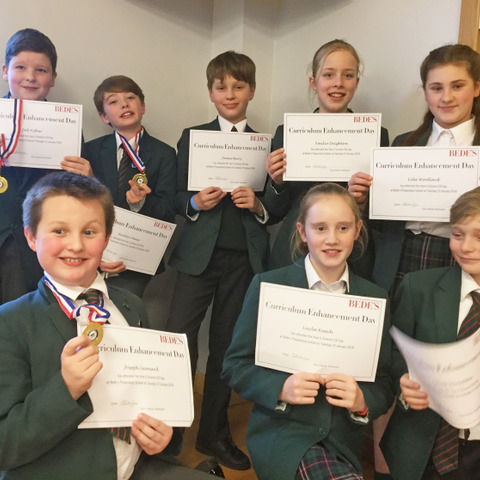 (1)Bede's Prep pupils with their certificates and medals