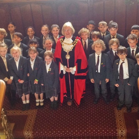 Bede's Prep pupils with the Mayor