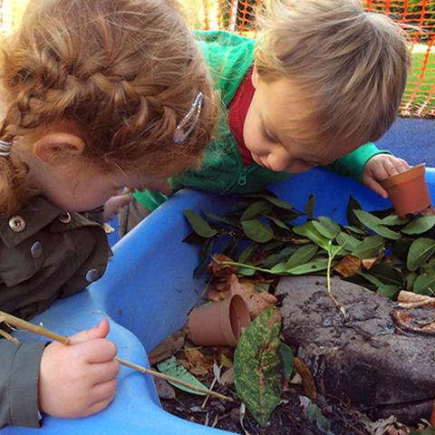 Bede's Nursery pupils enjoying their autumn-themed arts and crafts lessons