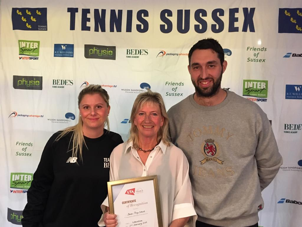 L to R: Bede's Head of Tennis, Francesca Scollo and Bede's Prep Tennis Coaches, Jane Nash and Matthew Golledge