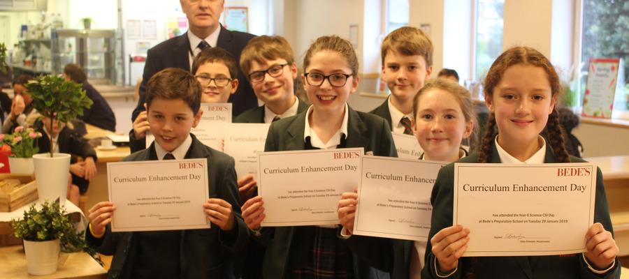 Bede's Prep Year 6 pupils with their certificates at the Bede's Prep CSI Day