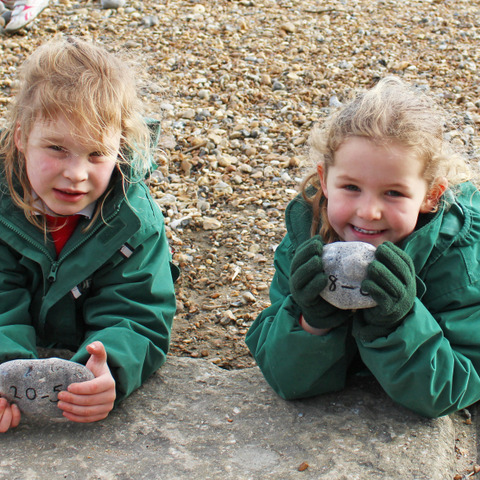 Bede's Prep pupils learning maths on Eastbourne beach