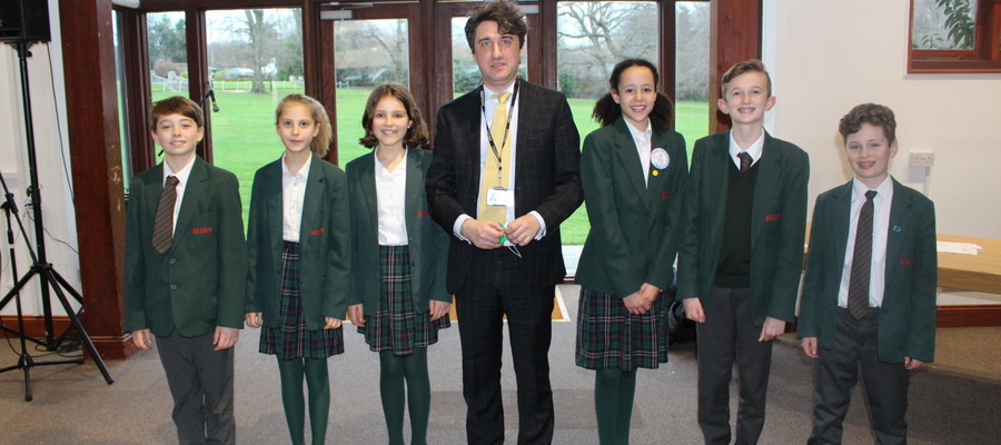 Bede's Prep Year 7 pupils with Nicholas Abrams, Head of STEM at Bede's