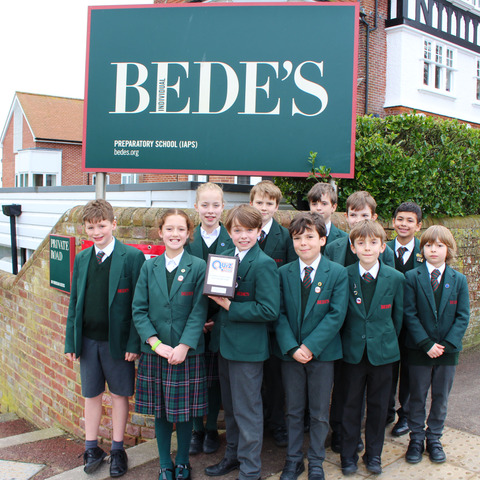 Bede's Prep pupils with their Quiz Club trophy