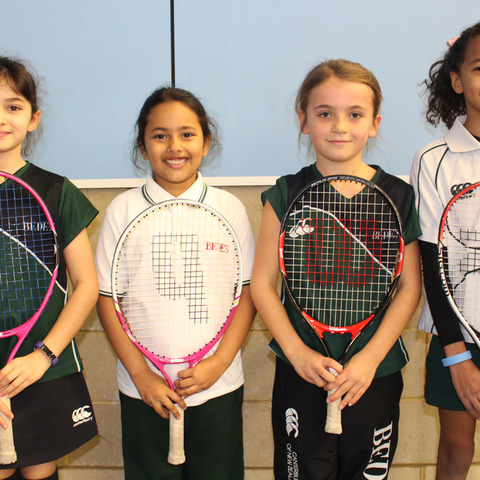 Bede's Prep girls' tennis team, winners of the Sussex County Mini Tennis Championships