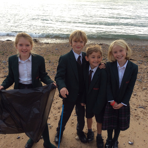 Bede's Prep Year 4 pupils at their beach clean