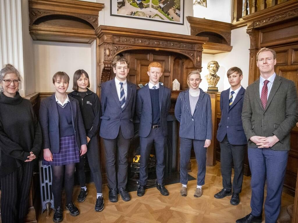 L to R Bede's Librarian Miss Evans, Maddie Goodman, Milly Gibson, Will Quibell, Sam Bickersteth, Eliane Boyer, Jack White and Bede's Head of English M