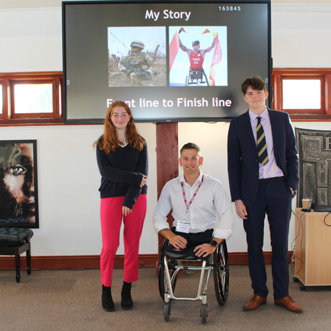 Bede's Sixth Form pupils with Joe Townsend