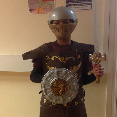 pupil in costume for Bede's Prep's Roman Day