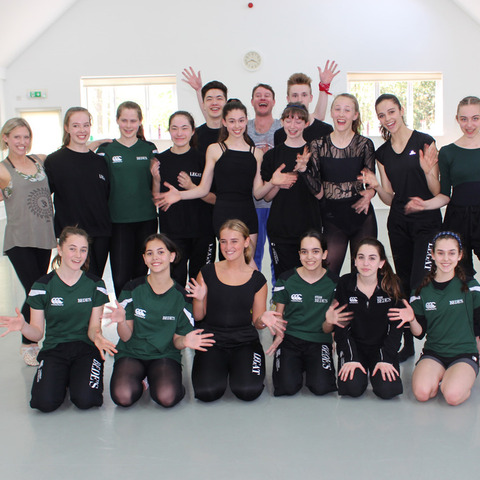 Tom Dwyer and Katy-Jo Murfin with the Legat dancers at Bede's Senior School