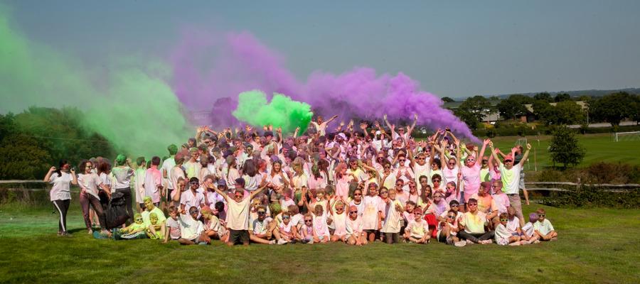 Bede's pupils enjoying the school's Colour Run (1)