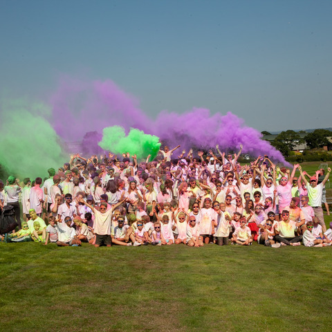 Bede's pupils enjoying the school's Colour Run (1)