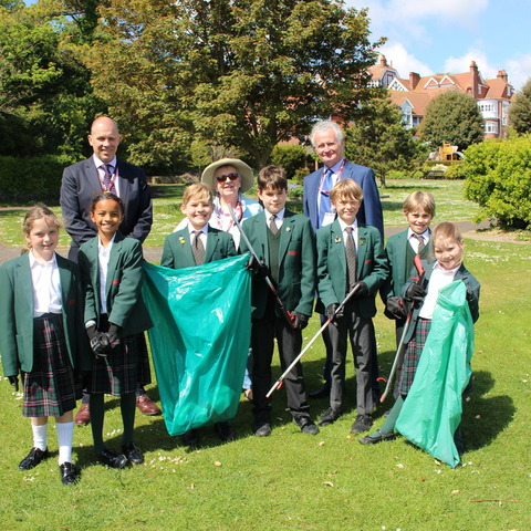 Bede's Prep pupils at Eastbourne's Great Park Clean