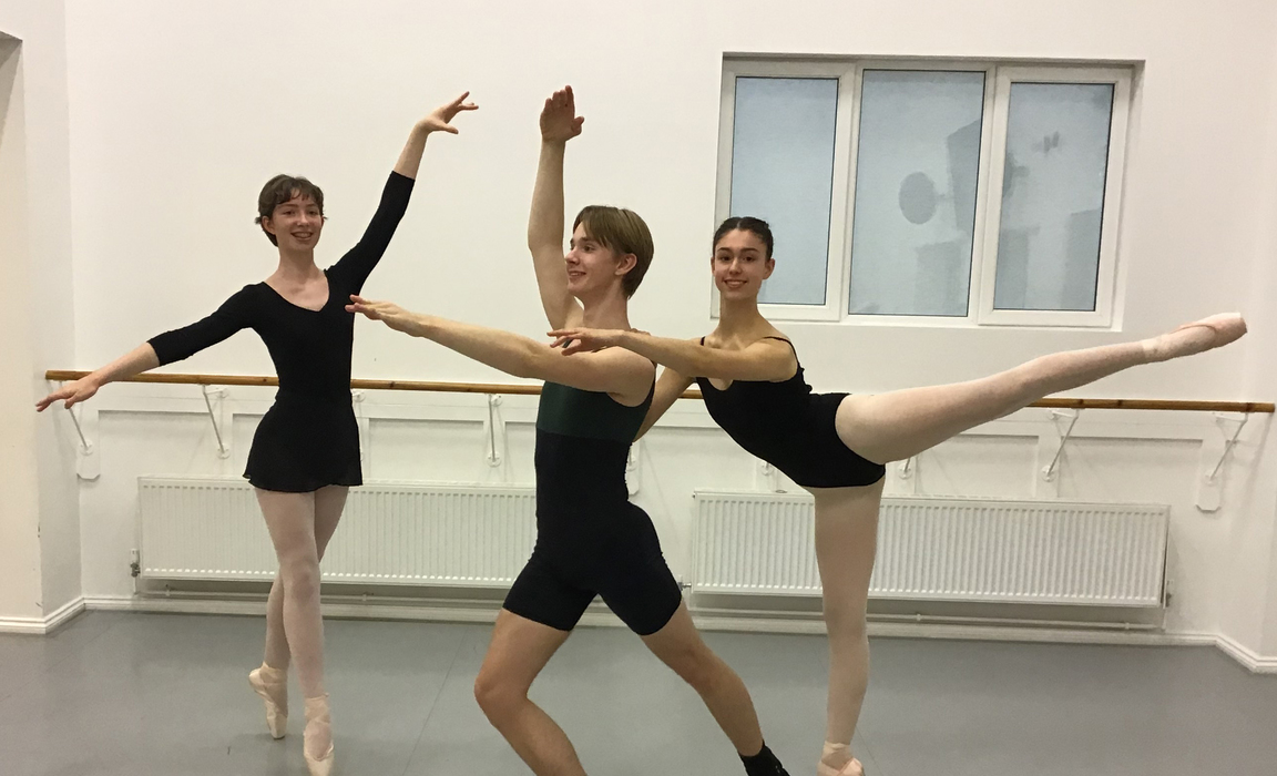 L to R: Bede's Legat Academy dancers Katie Fenton, George Linehan and Chloe Hanson