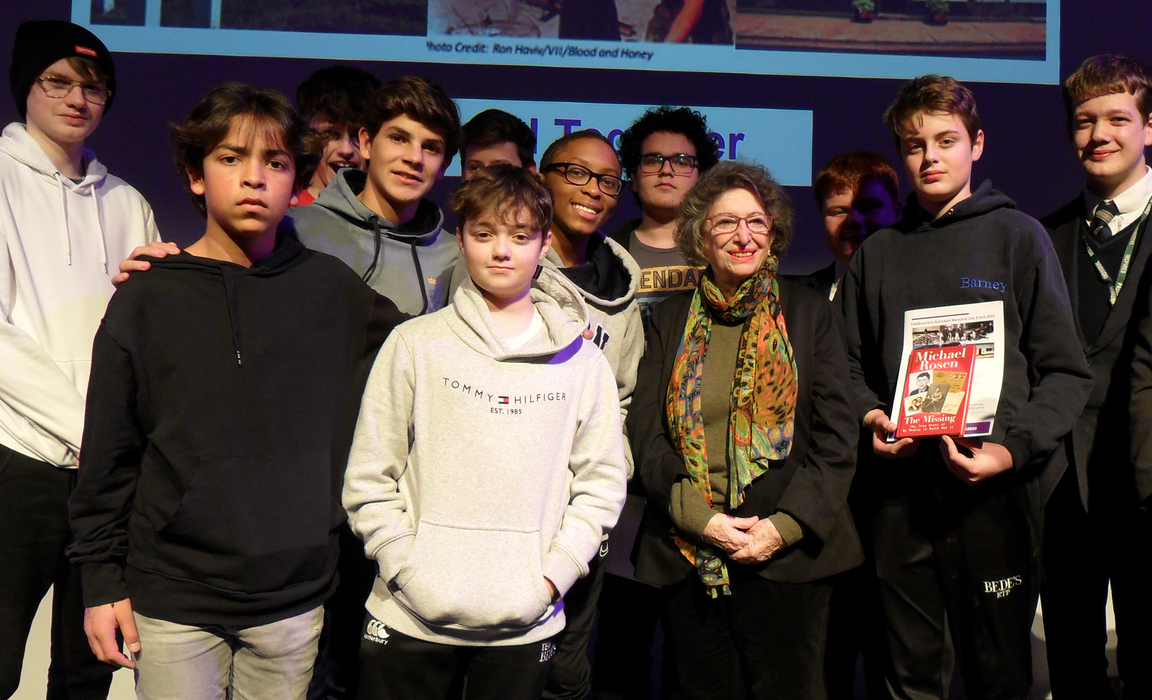 Bede's pupils at the Holocaust Memorial Day event in Eastbourne, pictured with Dorit Oliver-Wolff