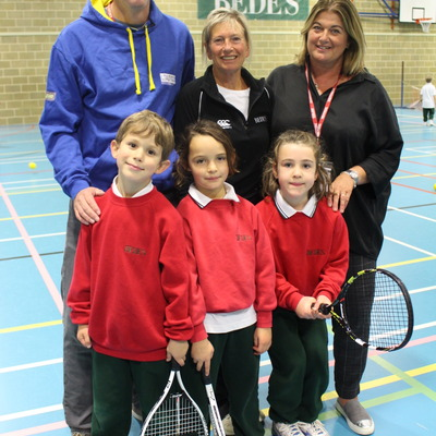(1)	Jane Nash with Bede's Prep pupils