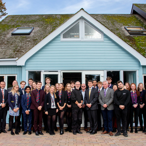 Bede's Sixth Formers with Headmaster Peter Goodyer and members of the Bede's Sixth Form and Estates teams