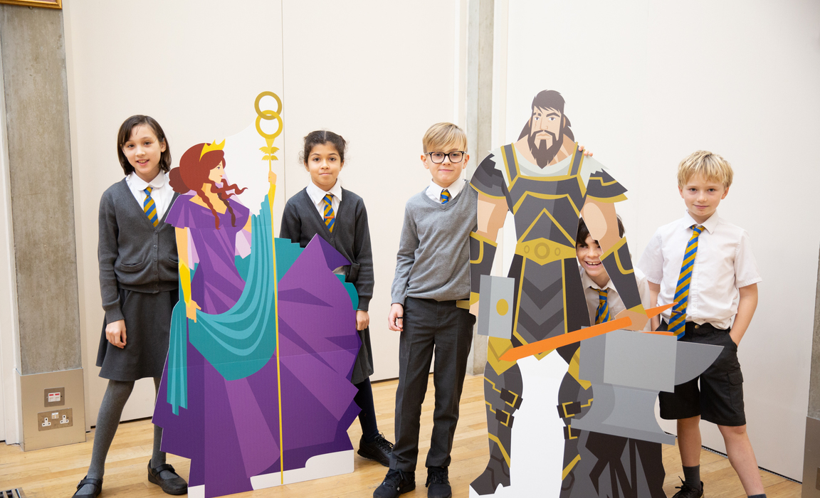 Children from North Ealing Primary School meet Hera and Hephaistos