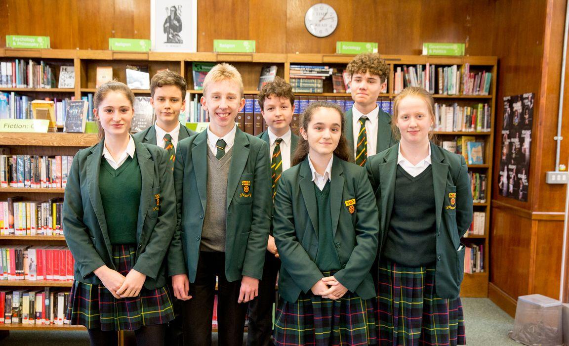 Some of St Benedict's GCSE students, pre-lockdown