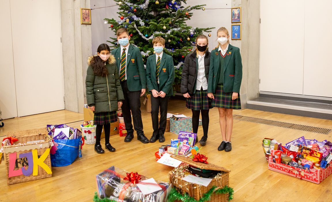 St Benedict's pupils with their foodbank hampers