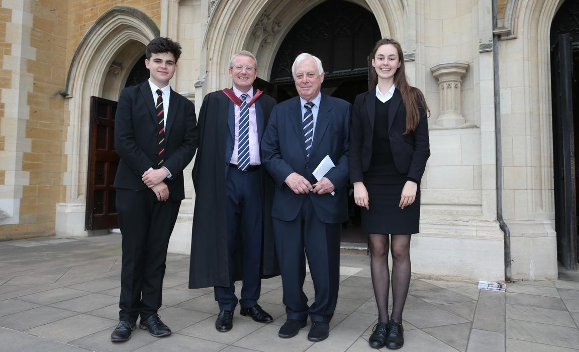 Head Boy,Evan Hobson, the Headmaster, Lord Patten and Head Girl Valentina Elner-Kupcha