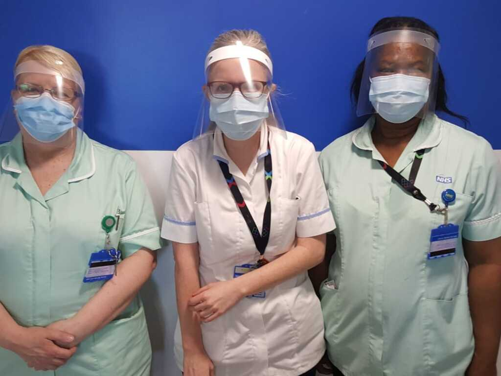 Nurses at the West Middlesex Hospital, wearing St Benedict's PPE