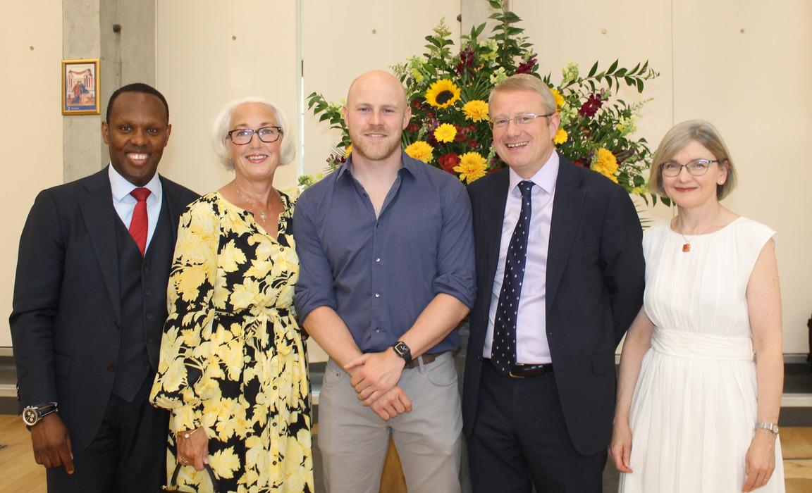 L to R: Rob Simmons (Junior School Headmaster), Diana Simmons, Joe Simpson, Andrew Johnson (St Benedict's Headmaster) and Dawn Johnson