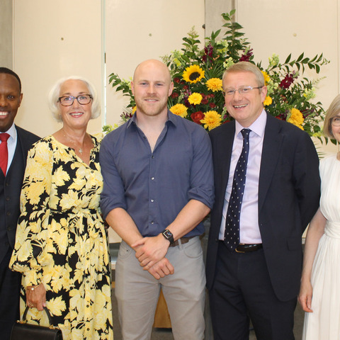 L to R: Rob Simmons (Junior School Headmaster), Diana Simmons, Joe Simpson, Andrew Johnson (St Benedict's Headmaster) and Dawn Johnson