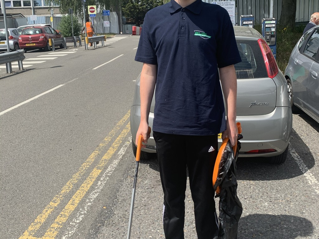 Ben cleans the grounds at Watford General Hospital.