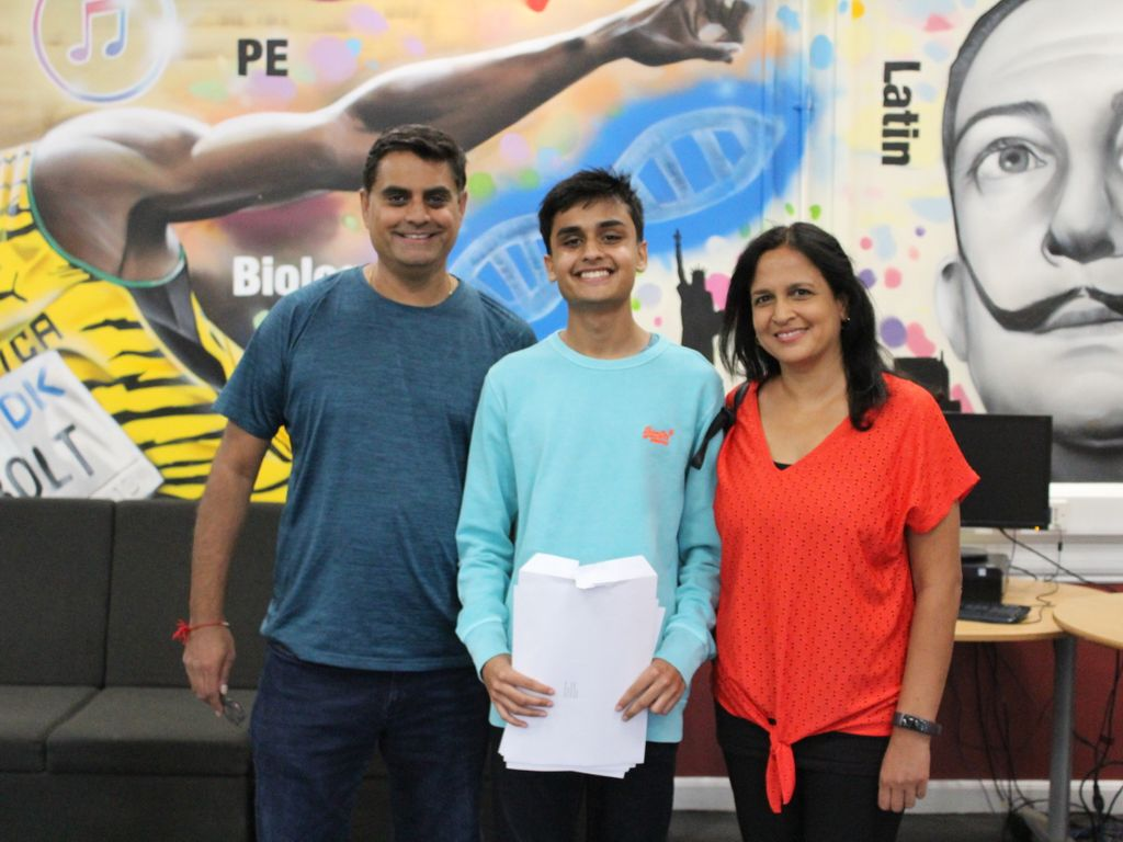 Akshil celebrates after achieving ten grade 9s and one grade 8 in his GCSEs.