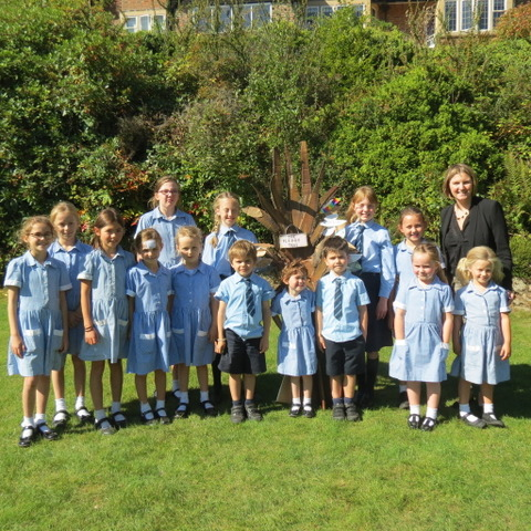 The Eco Monitors with Mrs Kay Goldsworthy, Head Teacher of St Ives School