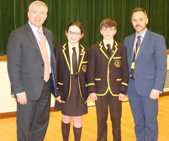 Mark Prisk MP (left) with Head Girl Amelia, Head Boy Sonny and Headmaster Douglas Brown, St Joseph's In The Park