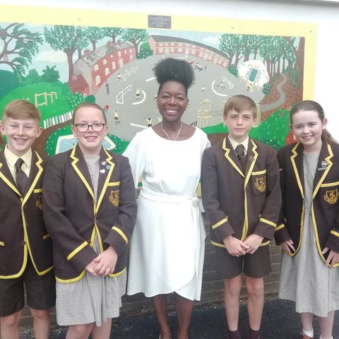 Baroness Floella Benjamin OBE and pupils of St Joseph's In The Park at Prize Giving