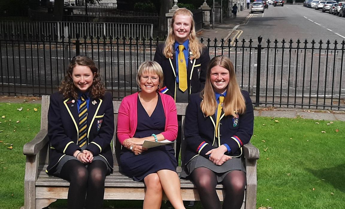 St Margaret's Head Teacher Anna Tomlinson with Eleanor Burnett-Stuart, Emma Murray and Eleanor Grant