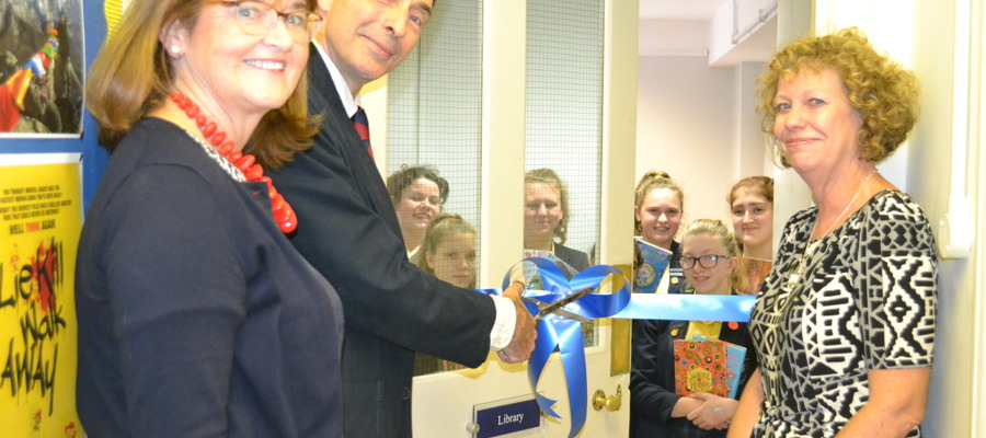 St Mary's Library opening by Principal, Mrs Hilary Vipond, author Matt Dickinson and Librarian Mrs Valerie Cassell
