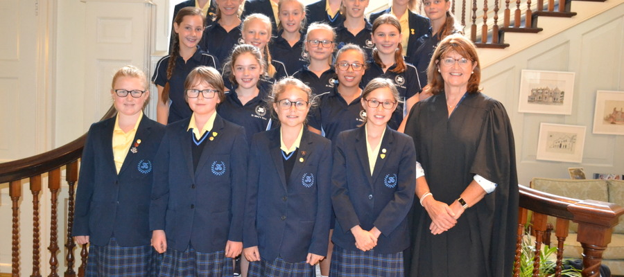 Year 7 St Mary's Scholars with Principal Mrs Hilary Vipond