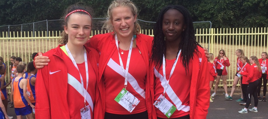 Maddie (left) at this summer's English Schools' National Championships