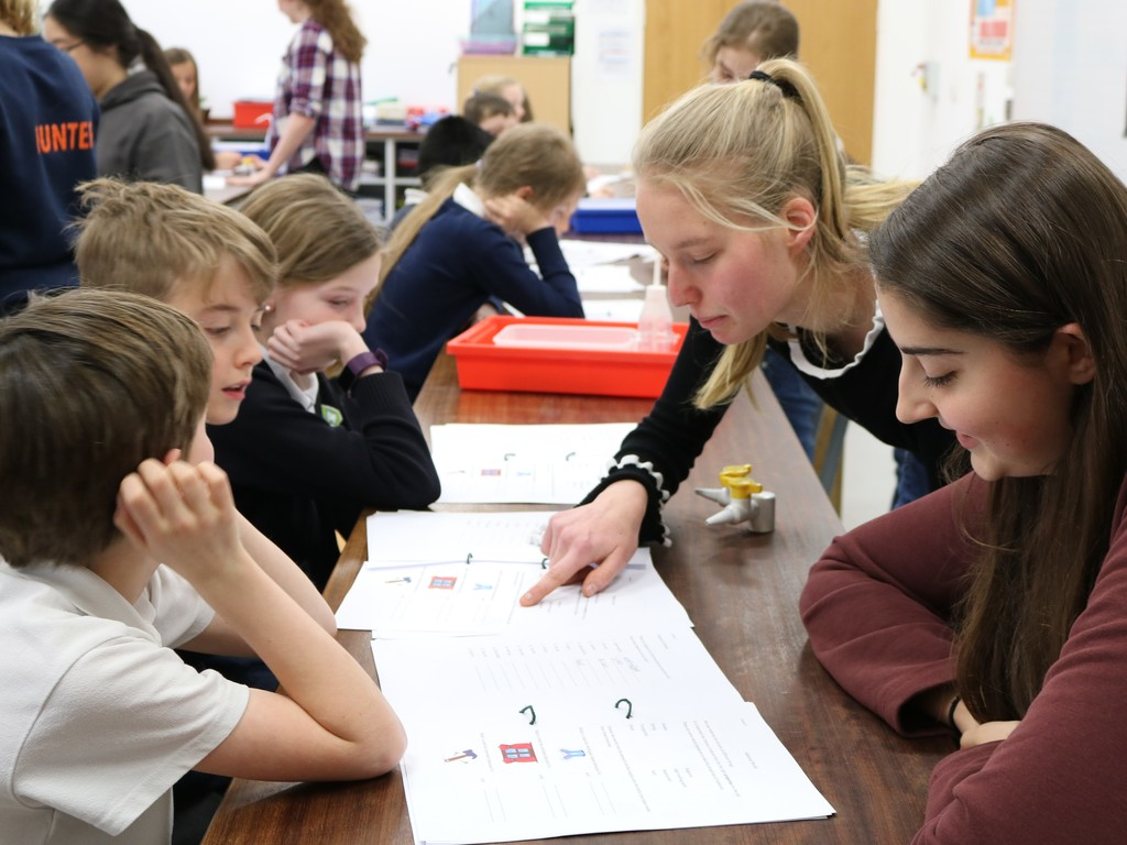 St Swithun's pupils running a science activity.