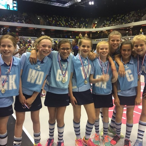 St Swithun's U11 netball team – Amelia, Elfye, Emilia, Emily, Grace, Hermione, Immy and Izzy.