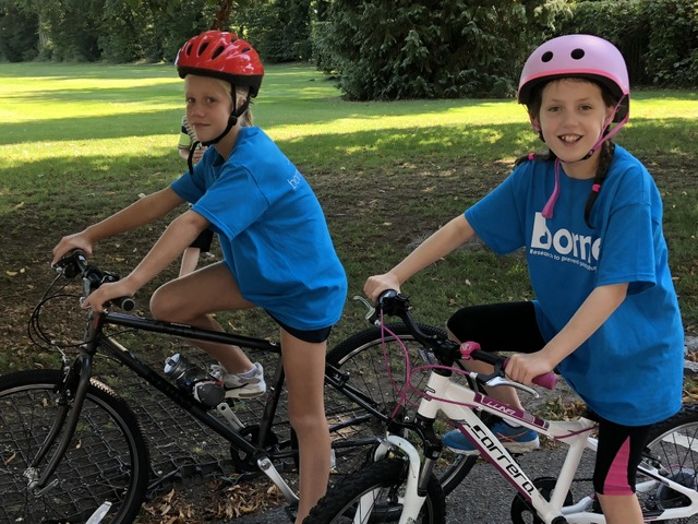 Lois and Freya about to start the cycling leg of their triathlon
