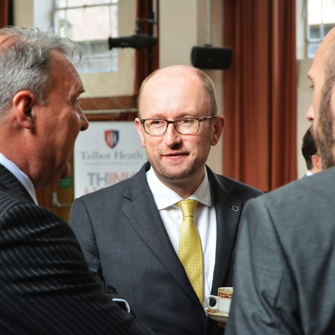 James Litton (centre)  General Manager Volvo Cars Poole and Gerry Ives, Finance Director Talbot Heath School at the THINK BIG business breakfast.