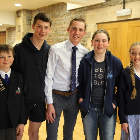 Taunton School pupils with Harry Cobden