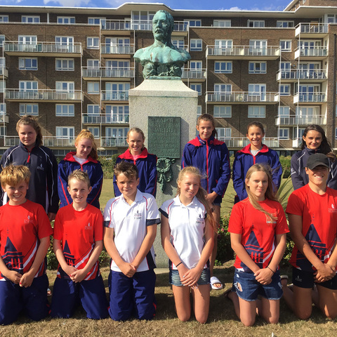 Channel Swimmers in front of William Webb Statue