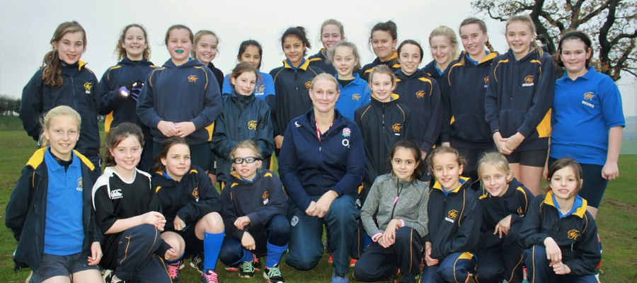 England rugby player Tamara Taylor leads a rugby training session with Terrington Hall School's Year 6-8 girls