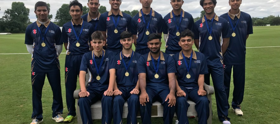 The John Lyon 1st XI with their county medals