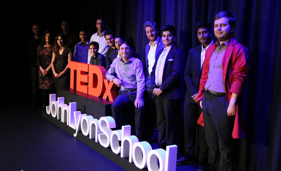 All the TEDxJohnLyonSchool speakers after the event