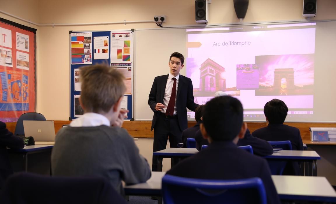 Daniel Wong talks to pupils about some of Paris' cultural sites