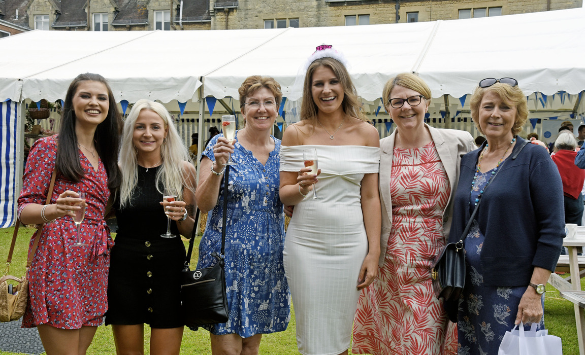 Guests and staff, including a hen party and Jo Bailey (second from right)