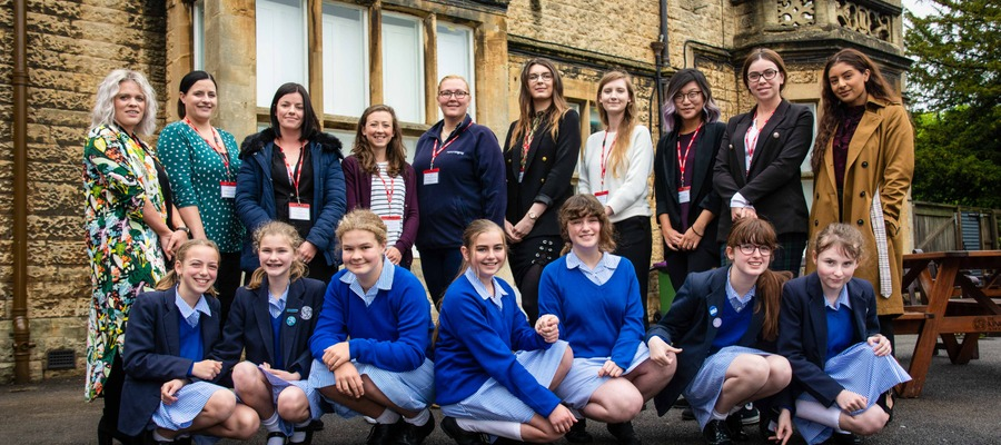 The industry experts with a group of Year 7 Kingsley pupils.